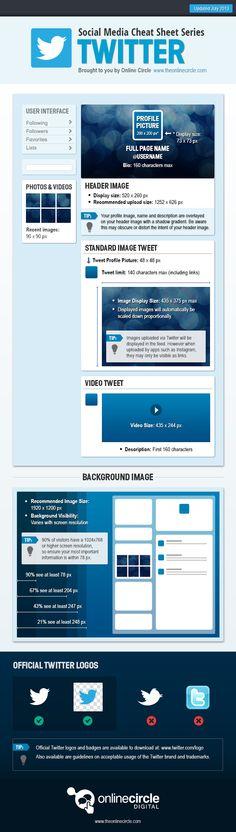 Spiekbrief met alle Twitterafmetingen en -maten [infographic] | Social Media Cheat Sheet Twitter #Steps #onlinemarketing #Success #digital #online #marketing #blog #facebook #twitter #pinterest #articles #tools #ramking #seo #keywords #infographics #google #search #branding #brand #media #engagement #content #strategy #mentions #campaigns #customer #image #pr #publicrelations #network #identity #style #contest #collaborate