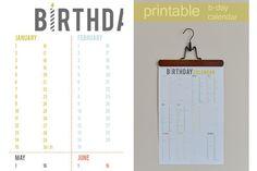 Printable Birthday Calendar - free