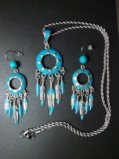 Native American Turquoise colored jewelry set. Hand painted and sealed. Buy now $23.99 Click on pic for details.