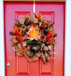 "Fall Maple Leaf ""Welcome"" Burlap Mesh Wreath"