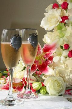 Champagne and flowers.