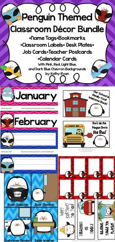 The bundle pack contains all kinds of adorable Penguin themed materials to decorate your classroom. Each design comes in 4 different Chevron background colors--red, pink, light blue, and dark blue. Included are name tags, desk plates, calendar cards, student job cards, postcards, and bookmarks.