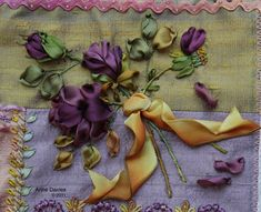 """Silk Ribbon Embroidery (13mm) & Bead Embroidery  quilt """"In Celebration of Women"""" Block 1 ~ by Anne Davies"""