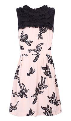 Pink Sleeveless Embroidery Bandeau Ruffles Dress