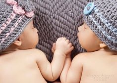 Twin Baby Boy Girl Hats in Grey Pink and Blue with Stripes and Choice of Flower, Bow or Button, Newborn Twin Girl Boy Photo Prop Set on Etsy, $35.00