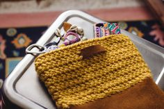 Yarn And Leather Bag Pattern - 15 Cute and Easy DIY Crochet Projects for Beginners