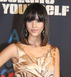 Jessica Albas shoulder length hairstyle with bangs