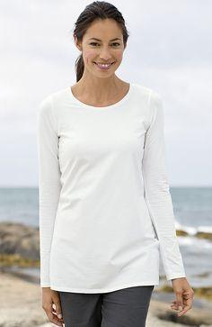 Pure Jill long-sleeve stretch cotton tee