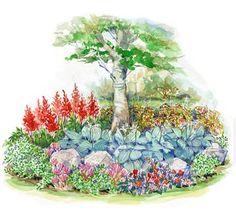 Fill an area beneath a shade tree with this charming garden. shades, garden layout, smallspac shade, shade garden plan, front yard, gardens, back porches, backyard, front porches