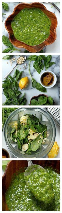Super Healthy Spinach Basil Pesto (Vegan // Dairy Free // Gluten Free) via Baker by Nature