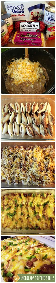 Enchilada Stuffed shells. Makes a LOT! Could halve the recipe for dinner. enchilada sauce, black beans, ground turkey enchiladas, hamburger dishes, beef, stuf shell, enchilada stuf, dinner stuffed shells, pasta