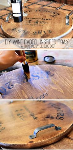 DIY Wine Barrel Inspired Tray. Great gift for dad. ~SP.....this would be a fantastic table top idea for a games table!  The wheels are turning.....