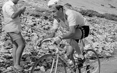 End of the road: Tom Simpson, the British rider nicknamed 'Major Tom' by the French media, made history in 1962 when he became to first Briton to wear the leader's yellow jersey at the 49th edition of Tour. Until recently Simpson was regarded as the nation's greatest ever road cyclist after becoming its first ever road race world champion in 1965. Tragedy struck, though, on Mont Ventoux in 1967 when he collapsed and died after suffering a heart attack