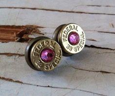 bullet earrings light pink crystal studs bridesmaid gift camo wedding hunter diamond  on Etsy, $16.99