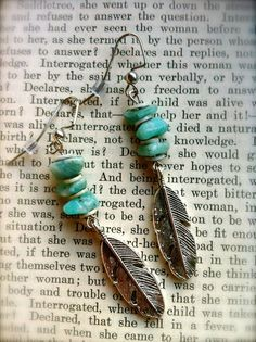 southwestern style clothes, turquoise clothing, feather earrings, jeweled feathers, feather turquois, turquoise earrings, turquoise earings, dangle earrings, earrings feather