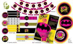 Girls Batman Customized Birthday Party Pack by GoBrandYourself on Etsy, $30.00