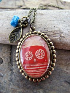 Hoot in Red, Owl Necklace.