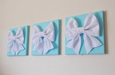 "Tiffany Blue -SET OF THREE White Bows on Bright Aqua Solid 12 x12"" Canvas Wall Art- Home Decor on Etsy, $93.00"
