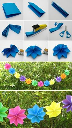 A wonderful activity to create folded flowers that can be used as class decor or gifts! Folding a paper into a fan, stapling the center, and then unfolding to staple the loose edges creates a 3D flower that can be decorated and then hung. They can also be glued to branches or pipe cleaners to look like flowers or trees! paper garlands, paper stars, fiesta, craft idea, paper flowers, diy craft, flower decorations, diy party decorations, parti