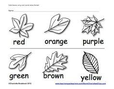 Free Fall Clip art and Printables from Charlotte's Clips focus on reading color words.  - repinned by @PediaStaff – Please Visit ht.ly/63sNtfor all our ped therapy, school psych, school nursing & special ed pins