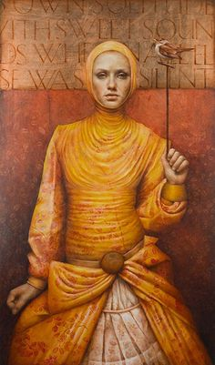 Artist: Pam Hawkes; Britain {contemporary figurative impressionist female in yellow dress woman portrait painting}