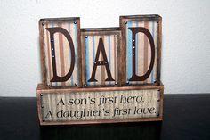 Dad Word Blocks Blue and Brown