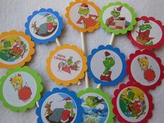 The Grinch cupcake toppers choose your favorite pack 12. $9.50, via Etsy.