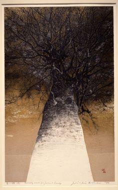 iamjapanese:  Joichi Hoshi(星襄一 HOSHI Jōichi Japanese, 1913-1979) High Treetops 高い梢  1976 Colour woodblock print with gold leaf