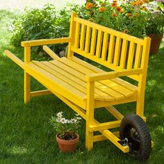 Build a Wheelbarrow Bench - would love to build some of these out of reclaimed materials to sit around the yard for wedding props