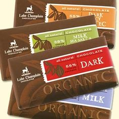 Lake Champlain Chocolates Mixed bars: Everyone loves Chocolate sometimes, we just don't know who likes which kinds? This Mothers Day your mom can taste all four Organic Chocolates from Lake Champlain — Dark Chocolate, Milk Chocolate, Dark Spicy Aztec, and Milk Sea Salt and Almonds.