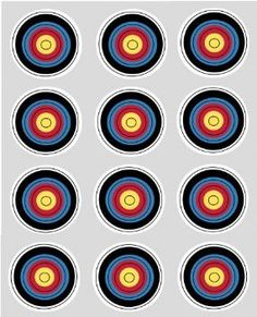 Archery Target Cupcake Toppers,