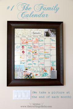 Family Calendar- love the frame idea