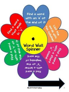 Freebie! Word Wall Fun with Spinners! Could use / be adapted for guided reading
