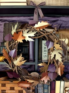 Fall Paper Leaf Wreath with free printable templates {Lia Griffith}