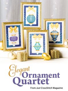 Elegant Ornament Quartet from the Nov/Dec 2014 issue of Just CrossStitch Magazine. Order a digital copy here: https://www.anniescatalog.com/detail.html?code=AM53356