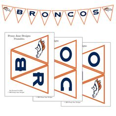 Broncos Superbowl Football Night Printable Banner | Instant Download | Broncos vs Seahawks Superbowl Party Decor