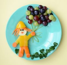 Creative Food Plate - A little girl with balloons
