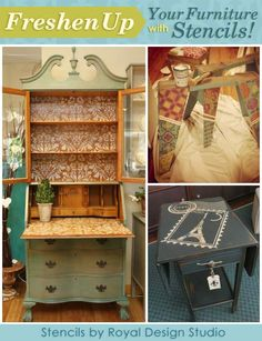 Update and upcycle thrift furniture with stencil patterns for fun furniture decor from Royal Design Studio