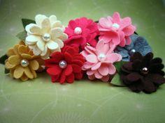 Cream Wool Felt Flower Headband or Hair Clip Skinny door bloomz