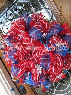 Red white & blue Patriotic Mesh Wreath Etsy