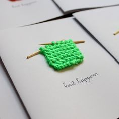 Knit Happens Greeting Card for the Artisan, Crafter, Knitter or Fiber Lover (NEW Neon Colours)