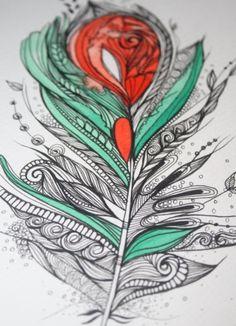 "Flower Feather. 5""x7"" Original Artwork"