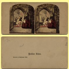 1859 UK Elliott Well Tinted Genre Stereoview 5 Days After Marriage Home Duo | eBay I think the wrong back was paired with the picture from the front.  This matches the picture of the wedding seen through the doorway.