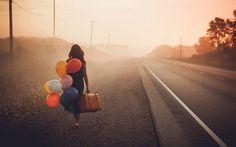 self portraits, senior pics, travel, balloon, graduation photos, light, walk, the road, suitcas