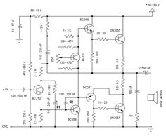 2N3055 Power Amplifier - circuit diagrams, schematics, electronic projects. By Jacint Chapo