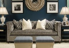 Loving the dark teal accent wall