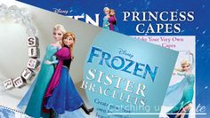 Make an Anna and Elsa cape and a Disney Frozen Sister's inspired bracelet craft!  FREE Printables!