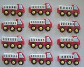 Fondant Cupcake or Cookie Toppers Edible Red Firetrucks