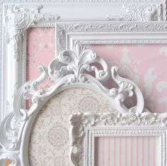 COLLECTION of MAGNET BOARDS Shabby Chic Nursery Vintage Shades of Pink, Grey and White Ornate Magnetic Boards Set. $169.00, via Etsy.