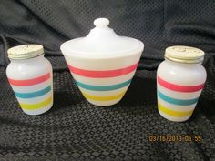 Anchor Hocking Fire King Stripes Grease Jar and Salt and Pepper Shakers
